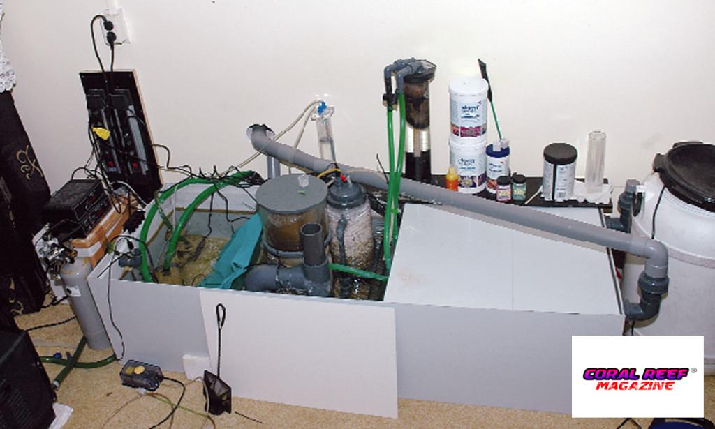 Sembra caotica ma funziona: la vasca tecnica nel locale adiacente.